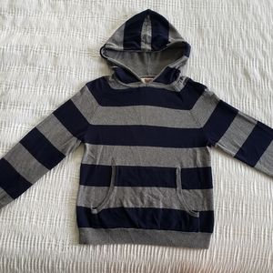 Boys Sweater Pull On Hoodie Blue Gray Cotton S 8